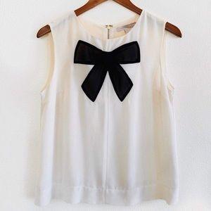 F21 cream chiffon bow sleeveless top